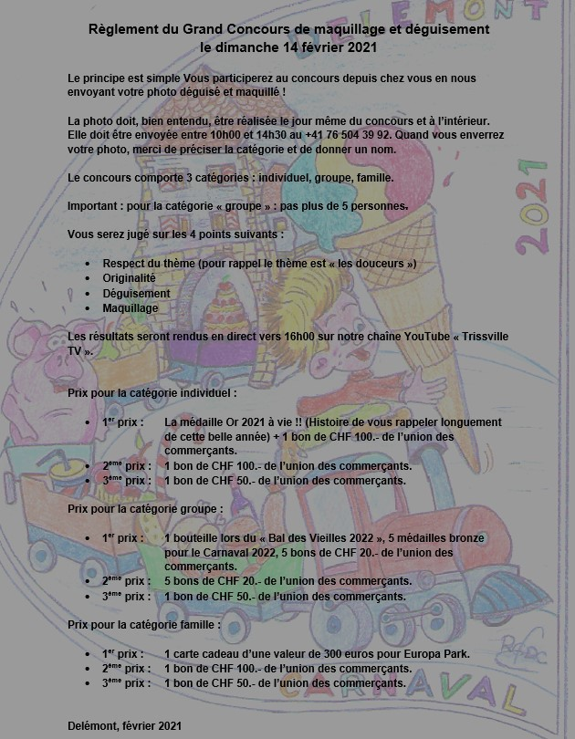 Concours carnaval 2021